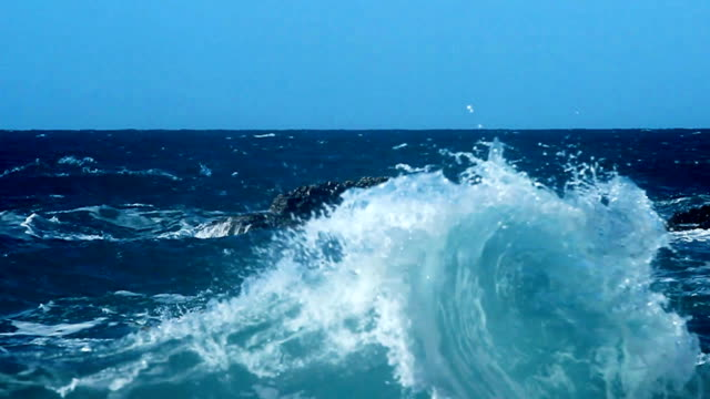 Waves hitting the rock video