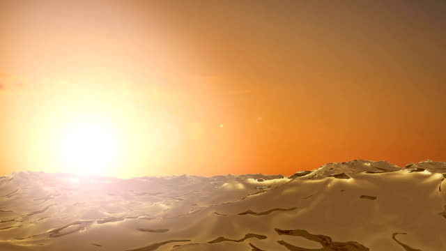 CG waves in front of a sunset in the ocean CG waves in front of a sunset in the ocean sepia toned stock videos & royalty-free footage