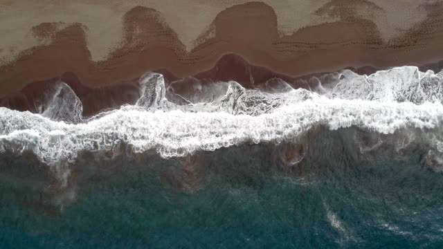 Waves Lapping Against a Secluded Beach from a Bird's Eye View video