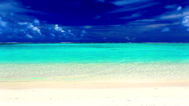 Waves on a deserted tropical beach, Cook Islands video