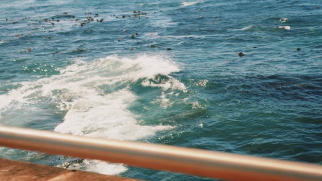 Waves splashing in sea seen from bridge