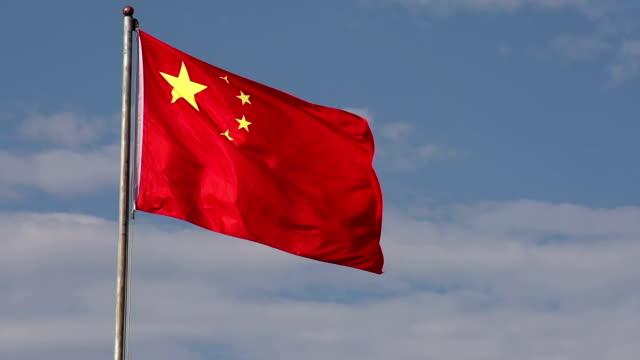 winken chinesische flagge - kommunismus stock-videos und b-roll-filmmaterial
