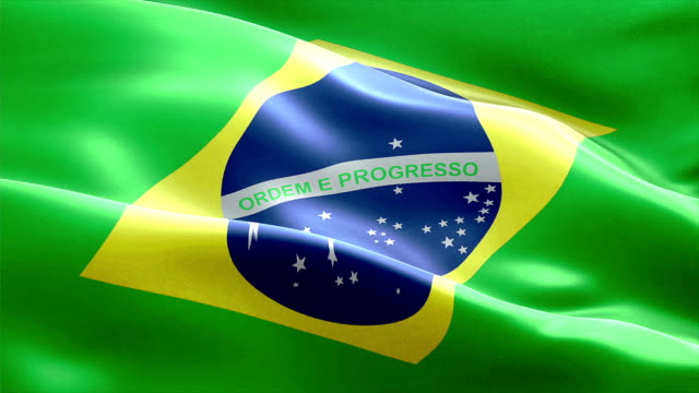 waving fabric texture of the flag of brazil video