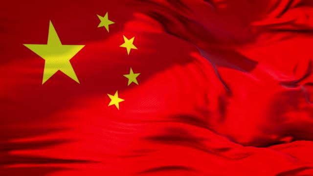 stoff textur kommunistische rote farbe mit gelben stern der flagge der leute der republik von china, echte textur flagge winken - kommunismus stock-videos und b-roll-filmmaterial