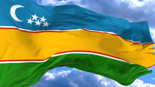 vídeos de stock, filmes e b-roll de agitando a bandeira contra o céu azul karakalpakstan - insígnia