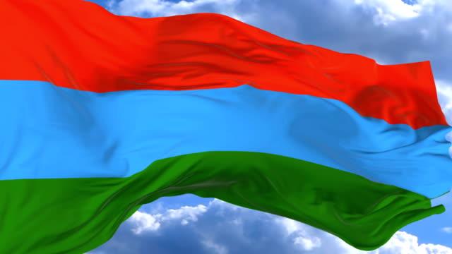 vídeos de stock, filmes e b-roll de agitando a bandeira contra o céu azul karelia - insígnia