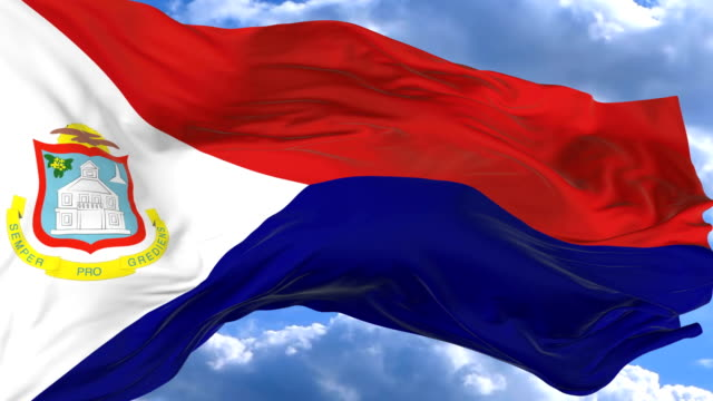 waving flag gainst the blue sky saint martin - saint martin caraibi video stock e b–roll
