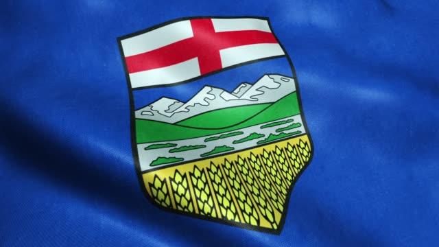 Waving Flag of Alberta Province or Territory of Canada Seamless Looping