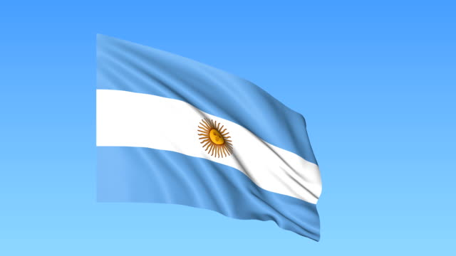 waving flag of argentina, seamless loop. exact size, blue background. part of all countries set. fullhd - bandiera dell'argentina video stock e b–roll