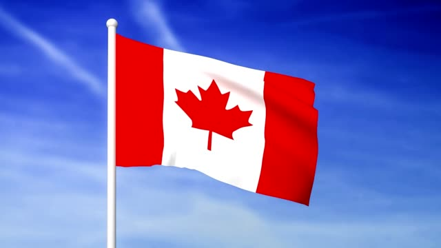 Waving flag of Canada on the blue sky background video