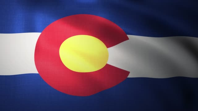 Waving flag of Colorado. Close-up, loopable 3D animation