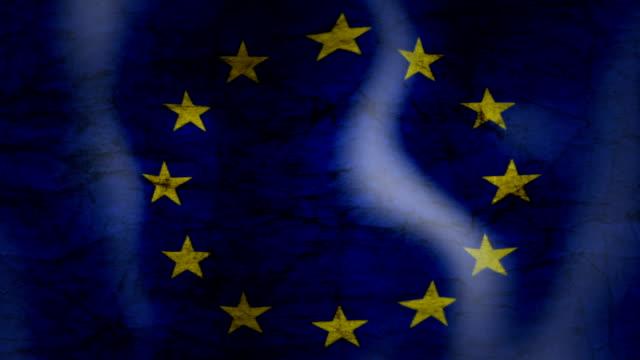 Waving Flag of EU, grunge look video