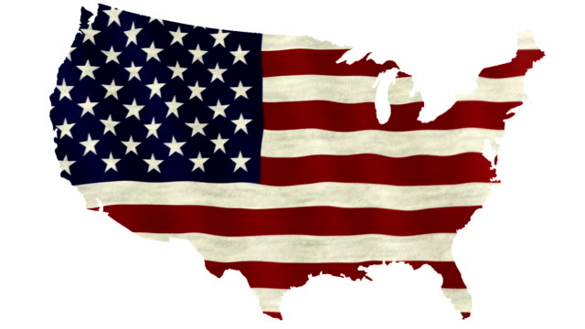waving flag of the united states of america overlaid on detailed outline map isolated on white background - usa map stock videos and b-roll footage