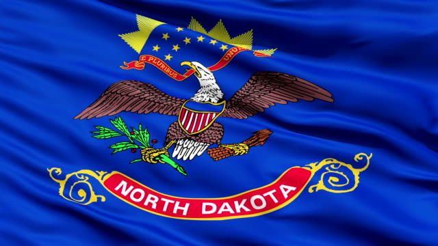 Waving Flag Of The US State of North Dakota video