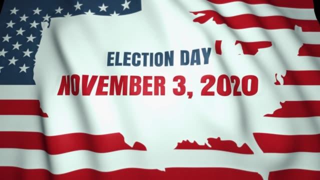 vídeos y material grabado en eventos de stock de bandera ondeando, el día de las elecciones presidenciales en estados unidos el 3 de noviembre de 2020, fondo, animación de bucle - election
