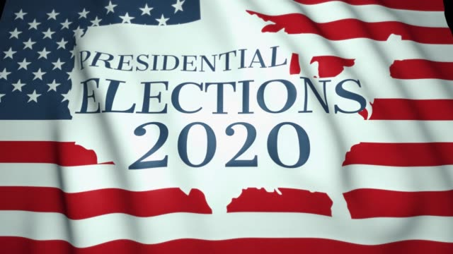 揮舞國旗, 我們總統選舉 2020 年的概念, 美國邊境和國旗, 4k 背景, 迴圈動畫。 - biden 個影片檔及 b 捲影像