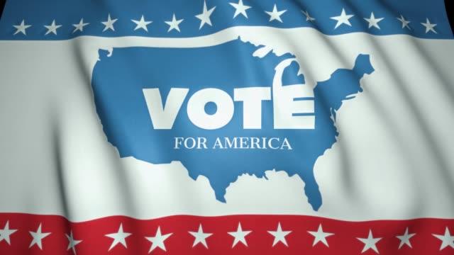 揮舞旗幟, 投票給美國, 我們選舉 2020 年的概念, 美國邊界, 4k 背景, 迴圈動畫。 - biden 個影片檔及 b 捲影像