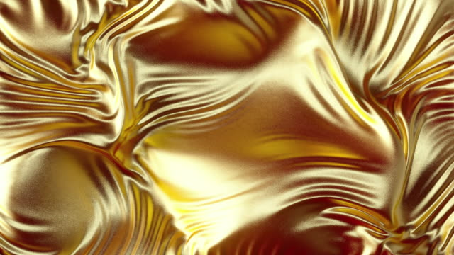 Waving golden cloth silk textile with ripples and folds Developing gold cloth silk textile 3D animation. Golden wavy cloth surface with ripples and folds in tissue. Gold background. gold stock videos & royalty-free footage