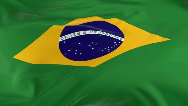 vídeos de stock, filmes e b-roll de acenar em loop bandeira como fundo do brasil - insígnia