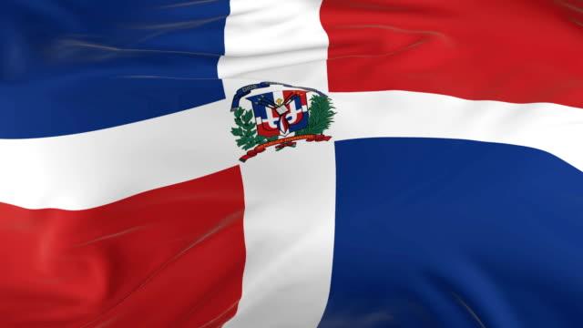 vídeos de stock, filmes e b-roll de acenar em loop bandeira como fundo república dominicana - flag