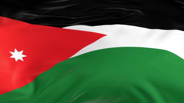 vídeos de stock, filmes e b-roll de acenar em loop bandeira como fundo jordan - insígnia