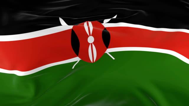 waving  looped flag as  background kenya - insygnia filmów i materiałów b-roll