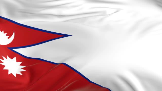 waving  looped flag as  background nepal - insygnia filmów i materiałów b-roll