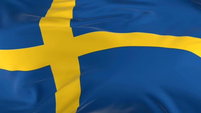 waving  looped flag as  background sweden - insygnia filmów i materiałów b-roll
