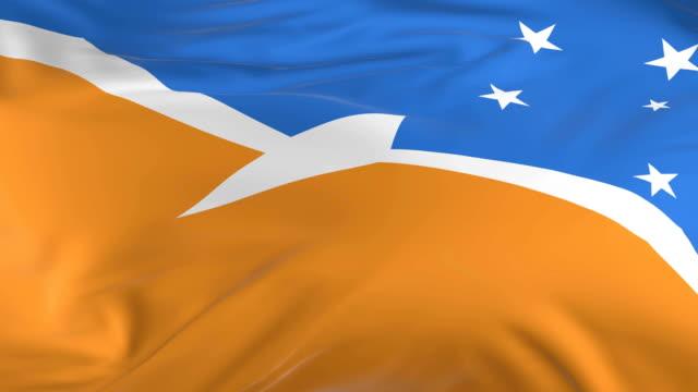 waving  looped flag as  background tierra del fuego province argentina - insygnia filmów i materiałów b-roll