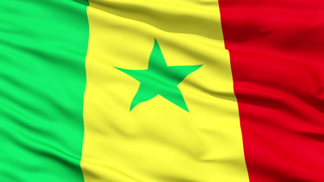 Waving national flag of Senegal Closeup cropped view of a fluttering national flag of Senegal senegal stock videos & royalty-free footage