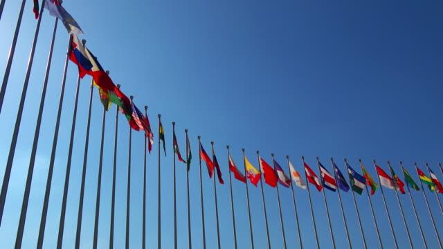 Waving national flags