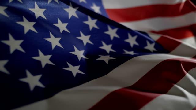 Waving of American flag slow motion