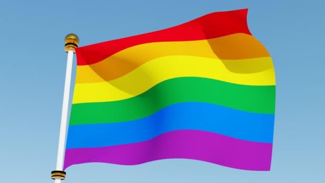 Het golven van regenboogvlag trotsvlag. Symboolvlag van LGBT, geslacht en seksuele diversiteit. video