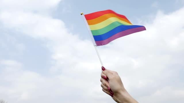 Waving rainbow pride stick flag against sky video