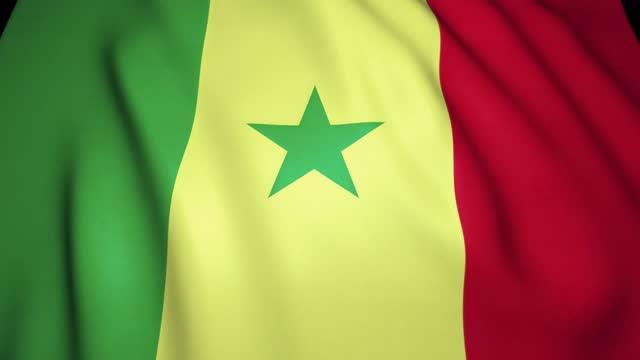 sventolando uno sfondo realistico della bandiera senegalese. animazione loop - dakar video stock e b–roll