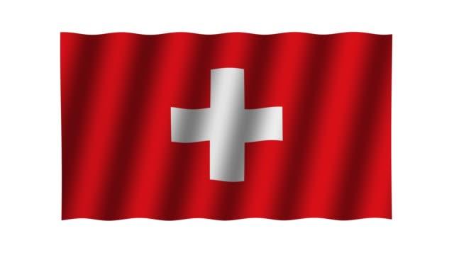 Waving Swiss flag. Animation. Footage. Background.