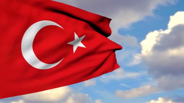 3D Waving Turkish Flag video
