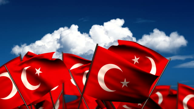 Waving Turkish Flags video
