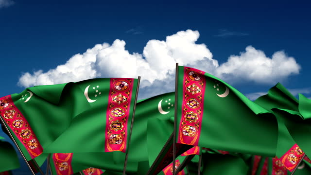 Waving Turkmen Flags Waving Turkmen Flags (seamless & alpha channel) turkmenistan stock videos & royalty-free footage