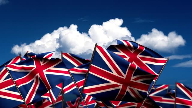 Waving United Kingdom Flags video