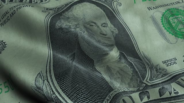 Waving US President George Washington Crumpled One Dollar Bill Obverse