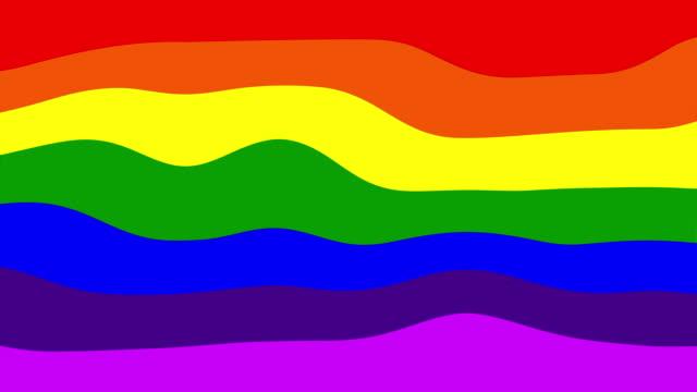 sfondo arcobaleno ondulato a strisce. bandiera del movimento lgbt. rendering 3d del simbolo delle minoranze sessuali - elemento del design video stock e b–roll