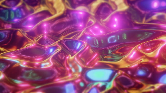 wavy surface iridescent liquid background - aluminum foil stock videos & royalty-free footage