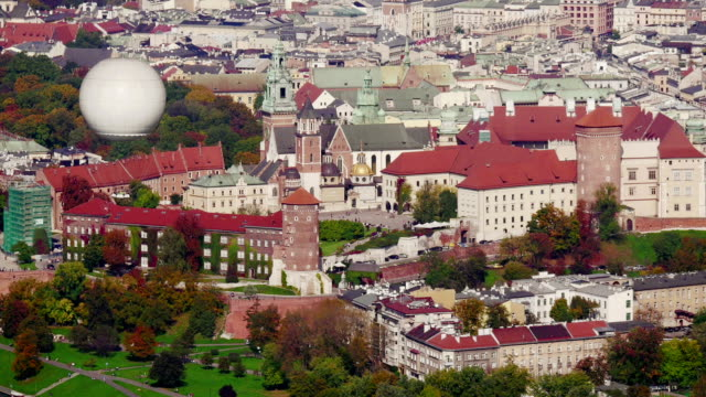 Wawel castle aerial footage video