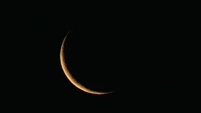 Waxing crescent of a new moon during the lunar phase video