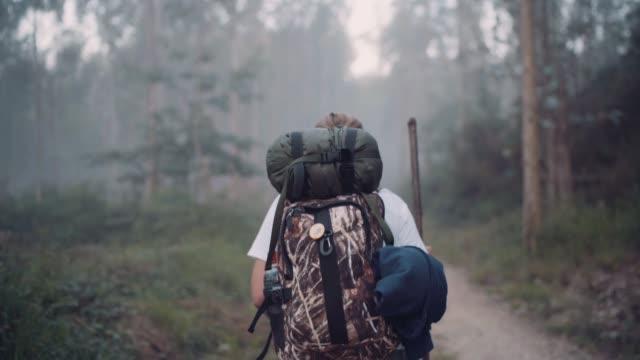 vídeos de stock e filmes b-roll de way of saint james pilgrim backpacker female going by the path through eucalyptus forest  back view slow motion footage. - mochila saco