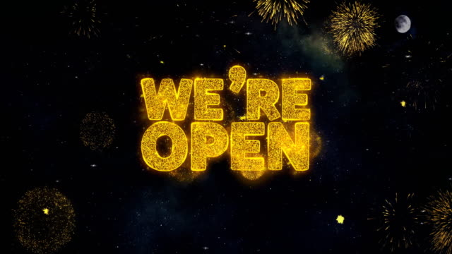 We Are Open Text Wishes Reveal From Firework Particles Greeting card.
