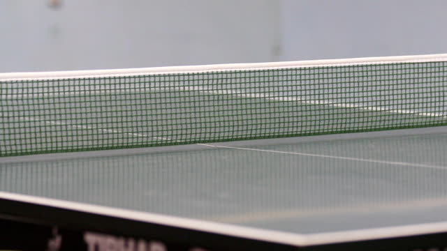 We can see a white ping pong ball travelling from one side of the table to another. Mens are playing table tennis. video
