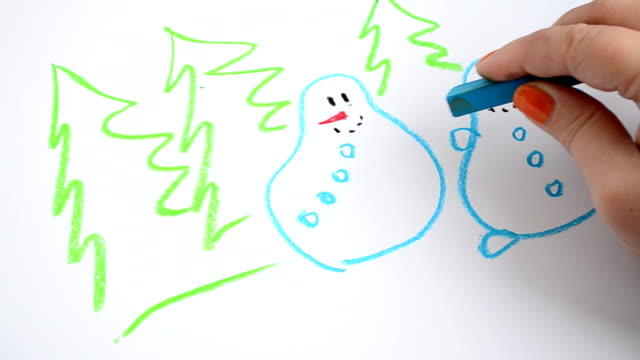 we draw snowmen and fir-trees - clip art video stock e b–roll