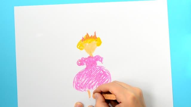We draw the princess.The child draws the picture. We draw the princess.The child draws the picture. princess stock videos & royalty-free footage